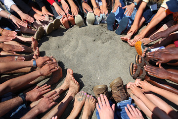 Circle of feet and hands