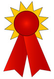 blank gold and red prize ribbon  poster