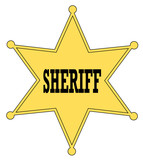 gold star sheriff badge from the old west  poster