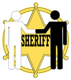 two people giving handshake with sheriff badge poster