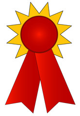 blank gold and red prize ribbon