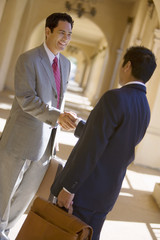 Two businessmen shaking hands in building arcade, smiling, side view (tilt)