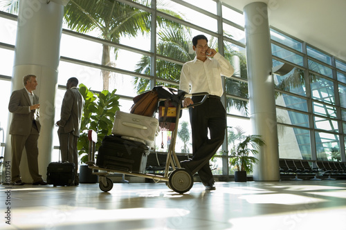 Businessman, with luggage trolley, standing in airport terminal, using mobile phone (surface level)