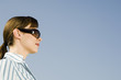 A businesswoman wearing sunglasses