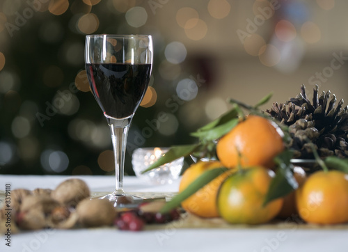 Red wine and Christmas clementines