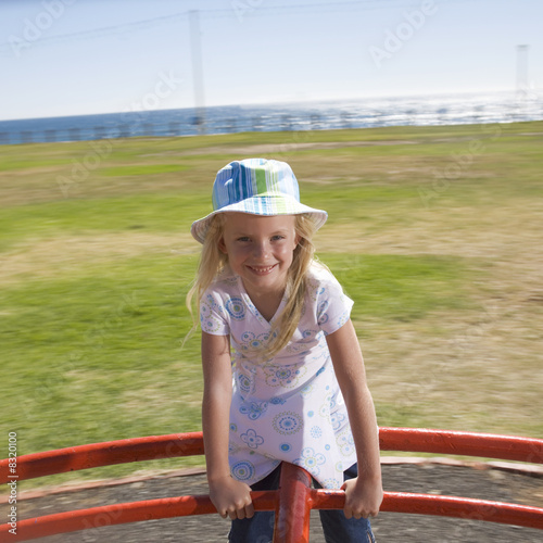A young girl on a playground