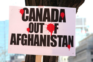Canada out Afghanistan protest sign during an anti-war rally