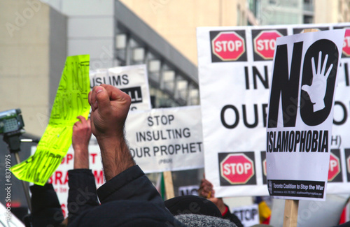 Muslim Protest And Protestors With Picket Signs in streets