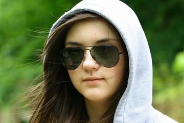 solemn teenage girl