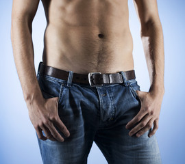 A young man, midriff