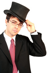 business man lifting his top hat in salutation and welcome