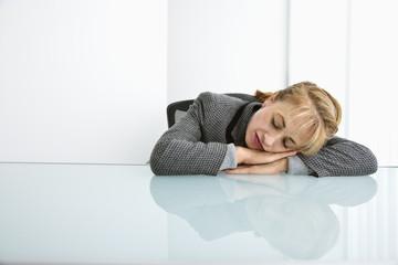 Businesswoman sleeping.
