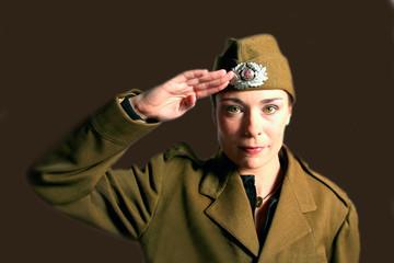 military woman saluting