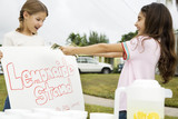 Two young girls at a lemonade stand