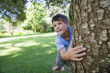 Boy (8-10) leaning against tree trunk on garden lawn, smiling (tilt, wide angle)