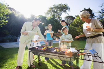 Family having barbecue in summer garden, senior woman serving grandson (8-10), man taking kebab from grill, smiling (lens flare)