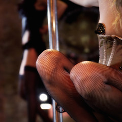 Close-up of two pole dancers
