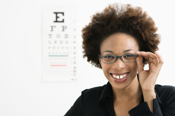 Woman at eye doctor