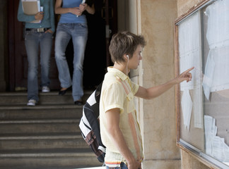 A student checking his exam results
