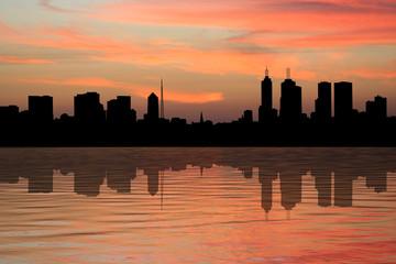 Melbourne Skyline at sunset illustration