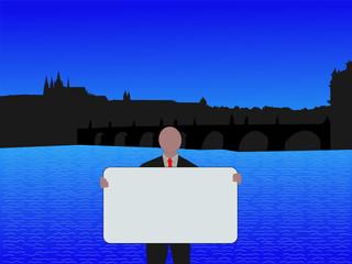 Prague business man with sign