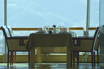 restaurant table setting for four persons