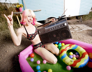 Rock and Roll Woman in a Play Pool