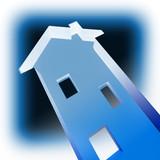blue house metaphore concept poster