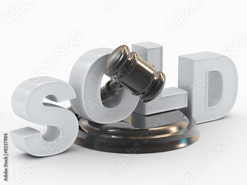 Gavel, stand inscription is sold