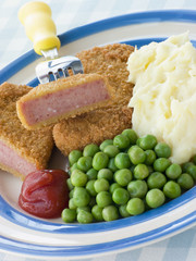 Breadcrumbed Luncheon Meat with Mashed and Potato Peas