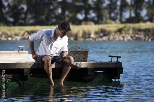 A young man fishing