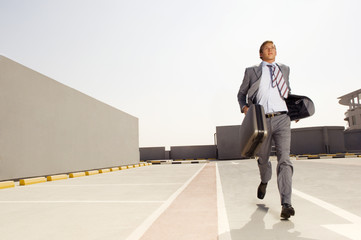 A businessman running
