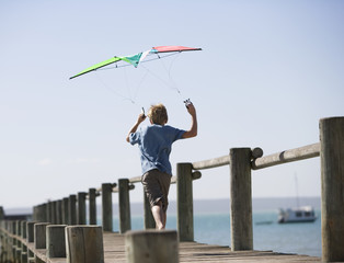A young boy with a kite