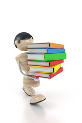 boy carries books