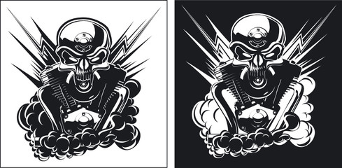 B&W skull with engine set