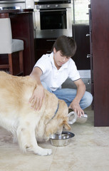 A young boy feeding his dog
