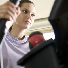 A young woman exercising