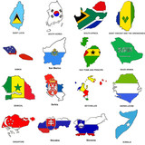 world flag map sketches collection 11 poster