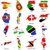 world flag map sketches collection 12 poster