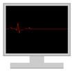 Постер, плакат: computer with flatline heart rhythm computer death