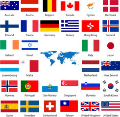 Detailed industrialized country flags and world map