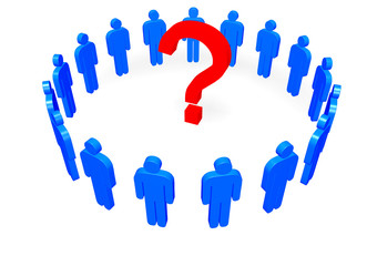 Men Around Question Mark