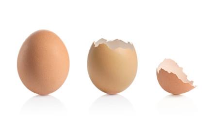 Eggshells isolated against white background