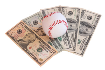baseball ball on money