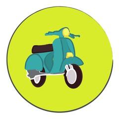Vespa turquoise sur fond vert