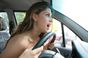 emotional brunette driver