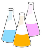 three flasks with different chemical solutions poster