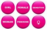Feminine concept glass buttons poster