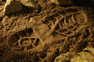 Footprint of an adventure boot