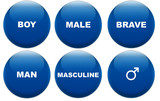 Masculine concept glass buttons poster